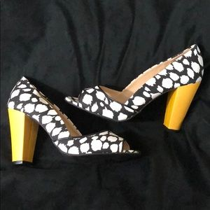 Boutique Style Color Block Peep Toe Heels